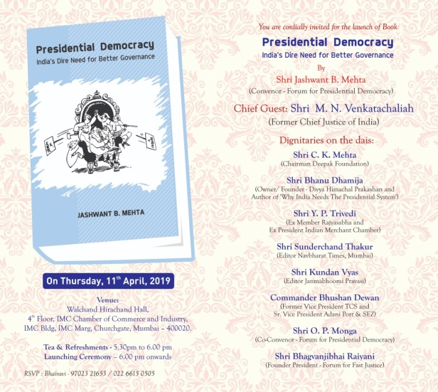 Presidential Democracy by Jashwant Mehta BoLaunch.jpg